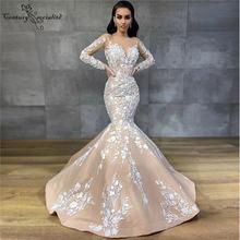 Boho Русалка свадебное платье 2020 кружевное с длинным рукавом