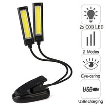 Lámparas de mesa para dormitorio, mesita de noche Flexible, USB, Clip-On, 2x COB, LED, lectura, estudio, escritorio, lámpara de mesa recargable