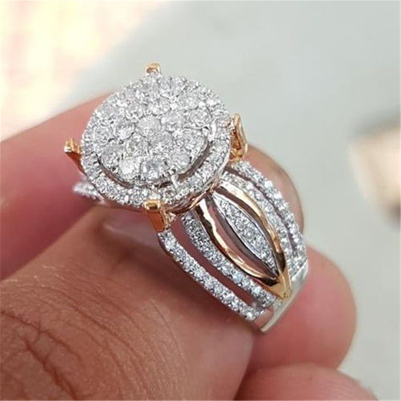 14K Rose And Gold 2 Carats Diamond Ring Luxury Banquet Engagement Anillos Bizuteria Gemstone Wedding Jewelry Topaz Diamond Ring