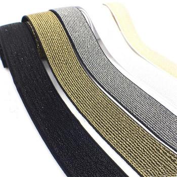 Brokatowe złote srebrne opaski elastyczne 10 15 25 40mm wysokiej jakości nylonowa talia zespół do odzieży spodnie DIY akcesoria do szycia 1M tanie i dobre opinie 1cm 1 5cm 2 5cm 4cm