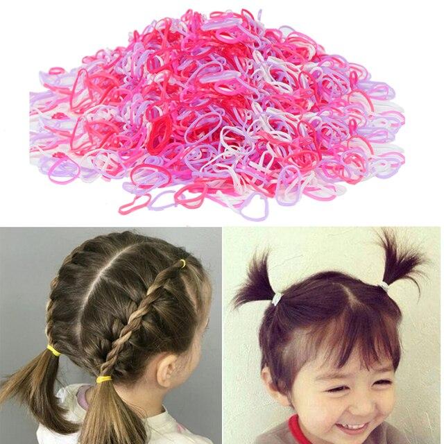 200/1000PCS น่ารักเด็กผู้หญิงที่มีสีสันแหวนทิ้งผมยืดผมผู้ถือหางม้ายาง Band Scrunchies เด็กอุปกรณ์เสริมผม