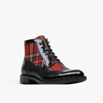 Fashion Men PU Leather Shoes Top Quality Vintage Plaid Boots Lace Up Mens Martin Casual Zapatos De Hombre 4M193