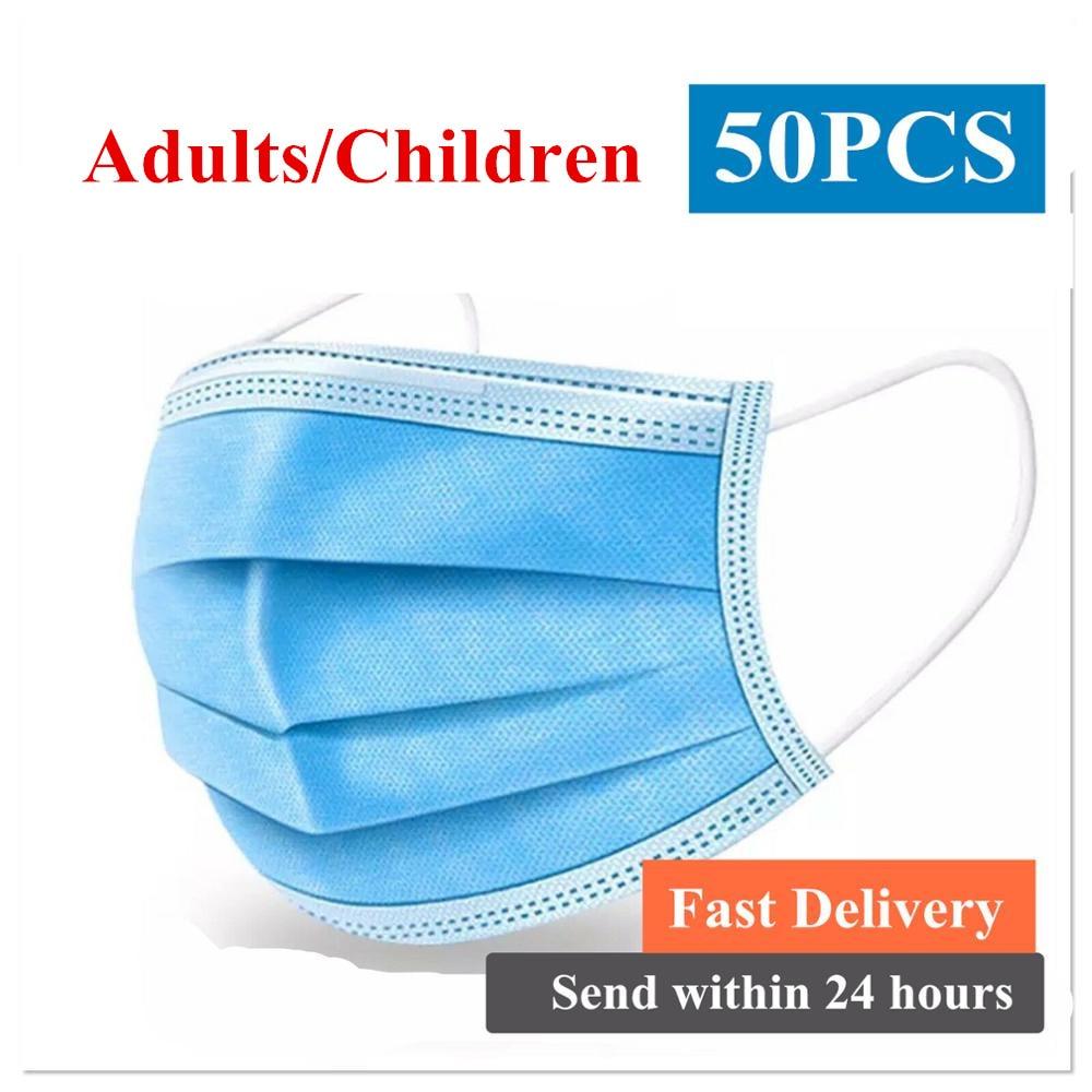 Disposable Masks DROPSHIPPING Children Masks Antivirus  Flu Nonwove 3 Layers Masks Ply Filter Mouth Face Mask Meltblown CE Ffp1