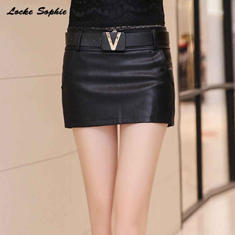 High Waist Women's Plus Size Leather Skirts Shorts 2020 Autumn PU Leathe Zipper Splicing Waist Belt Ladies Skinny Shorts Skirts