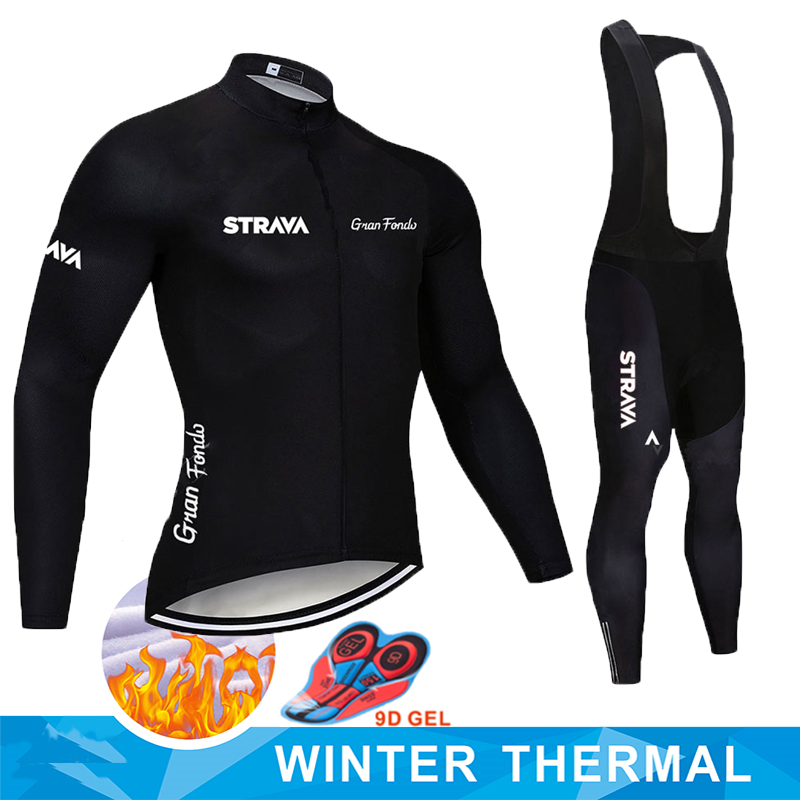 STRAVA Pro Team Winter Thermal Fleece Cycling Clothes Men Long Sleeve Jersey Suit Outdoor Riding Bike MTB Clothing Bib Pants Set