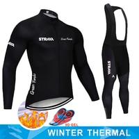 STRAVA Pro Team Winter Thermal Fleece Cycling Clothes Men Long Sleeve Jersey Suit Outdoor Riding Bike MTB Clothing Bib Pants Set