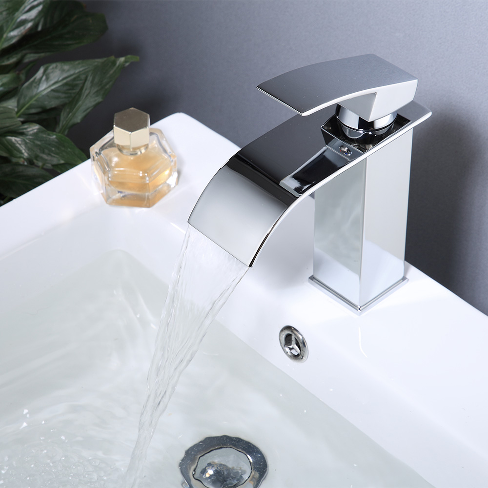 H433a8ee79682454cbb465eb5c216a0bbF Modern Bathroom Basin Faucet Waterfall Deck Mounted Cold And Hot Water Mixer Tap Brass Chrome Vanity Vessel Sink Crane