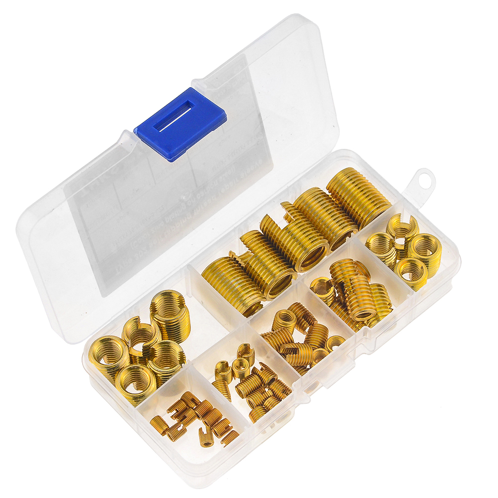 50Pcs/Box M3-M12 M4 M5 M6 M8 M10 Carbon Steel Thread Repair Insert Self Tapping Thread Slotted Insert Combination Set Assortment