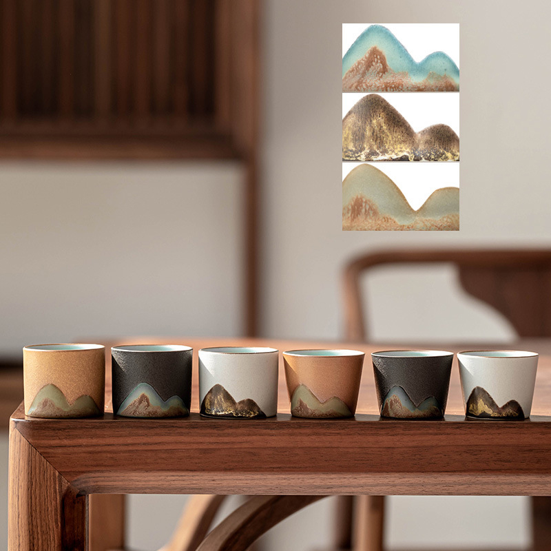 Mountain Teacup Ceramic Tea Set Kung Fu Japanese Style Small Tea Cups Pottery Zen Single Cup Individual Retro Master Mug Coarse