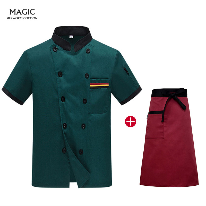 Food Service Hotel Restaurant Chef Clothing Kitchen Uniform Men Clothes Chef Jacket Uniform Short-sleeved+beauty Apron Chef Coat