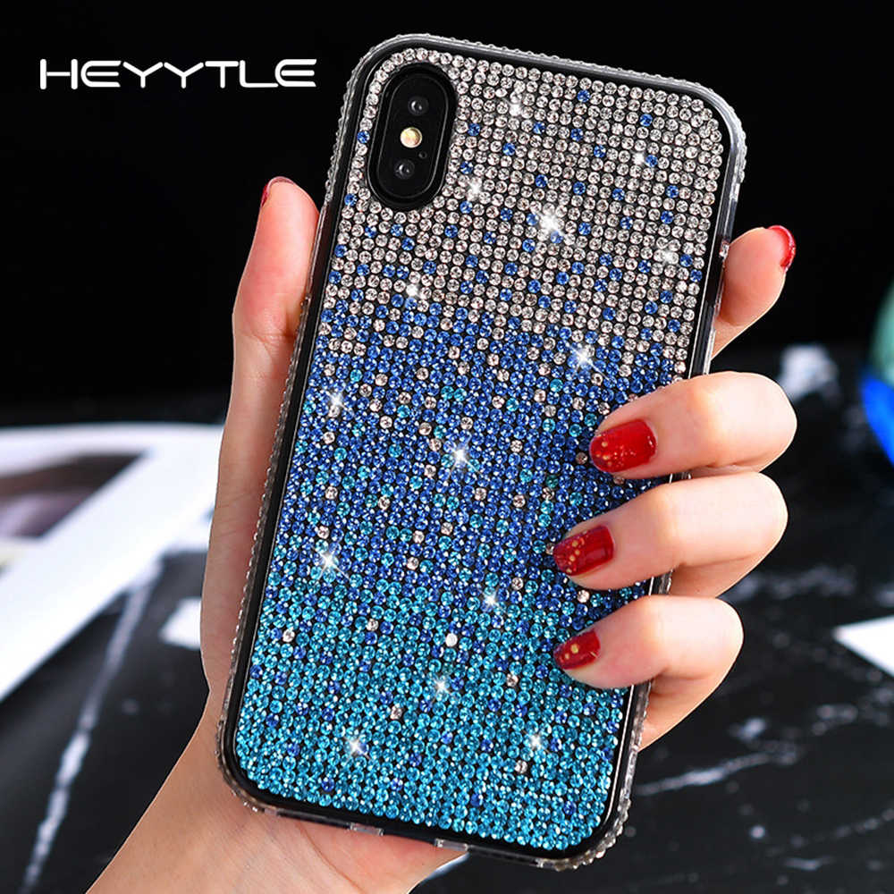 Heyytle Bling Glitter Diamond Case For iPhone X XS MAX XR Gradient Cover For iPhone 8 7 6 6s Plus 7Plus Shining  Girl Case Coque