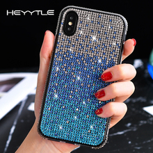 Heyytle Bling Glitter Diamond Case For iPhone X XS MAX XR Gradient Cover 8 7 6 6s Plus 7Plus Shining  Girl Coque