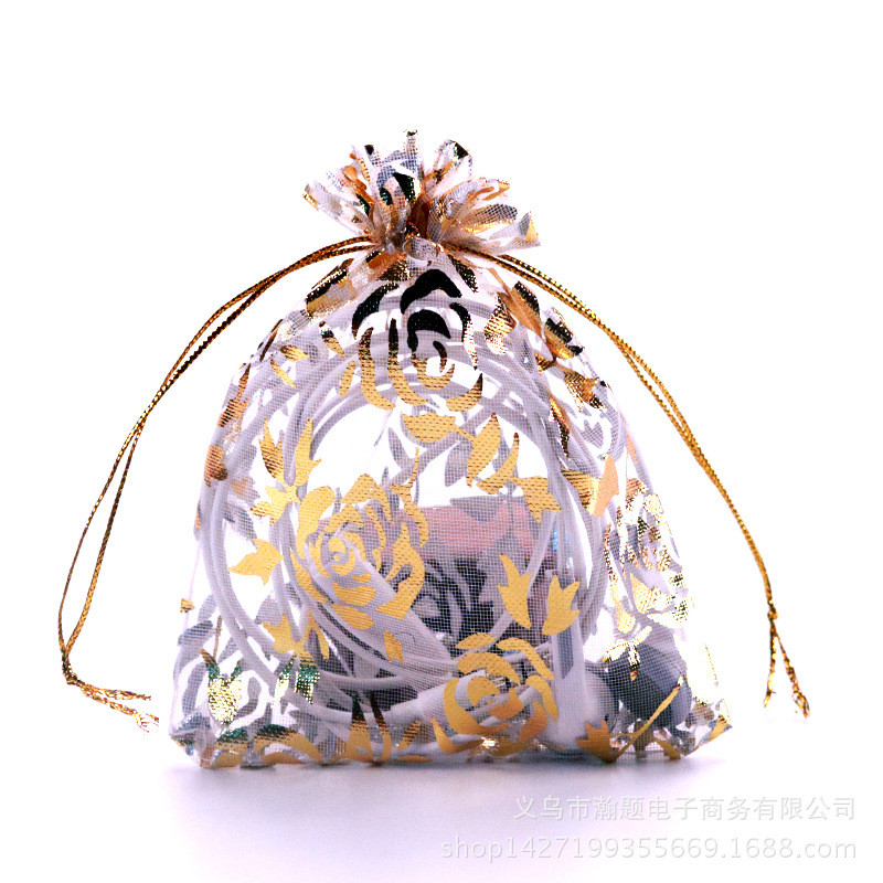 100pcs Organza Gauze Bags Gift Packaging Jewelry Package Gilt Bunchhole Organza Pearl Bag Multi-size Rose Bags Colorful Choose