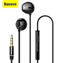 Baseus 유선 이어폰, 이어폰, 이어폰, 마이크 스테레오 헤드셋 이어폰, 이어폰, 삼성 Xiaomi Sony Fone De Ouvido