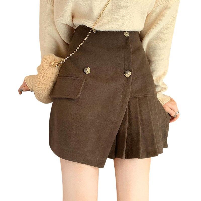 Women's Autumn Winter Skirt New A-line Short Skirt Female Irregular High Waist Solid Color Skirt Button Mini Pleated Skirt ML262