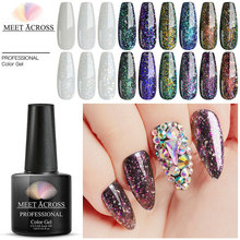 MEET ACROSS 8ml Diamond Glitter Gel Nail Polish Hybrid Varnishes For Manicure Holographic Shiny Nail Art Design Gel Polish