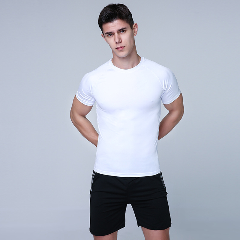 MEN'S Suit 2019 Summer Sports Running Casual Youth Two-Piece Shorts Short Sleeve Solid Color Men'S Wear