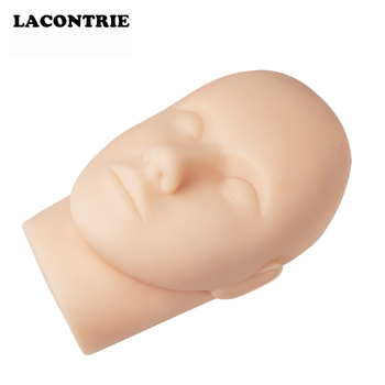 1 Pcs Silicone Mannequin Head Eyelash Extension Makeup Practice Model Face Painting Training Head Eyes Closed Flat Dolls Head
