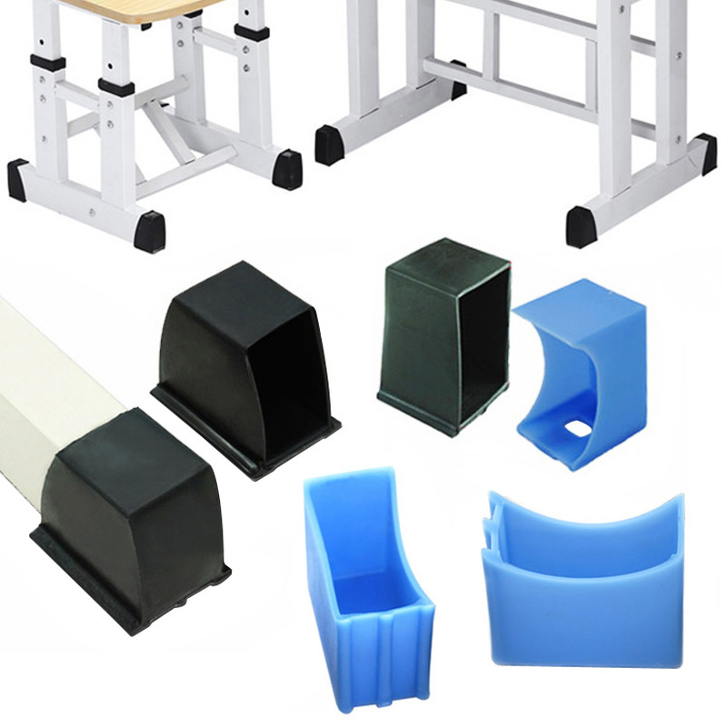 4pcs Rubber Student Desk Chair Leg Caps Oval Horizontal Pipe Plugs Non-slip Table Foot Dust Cover Socks Floor Protector Pads