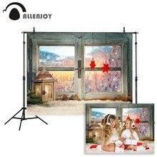 Allenjoy photographic background Windows glass stars warm street Street light winter backdrop photocall professional customize