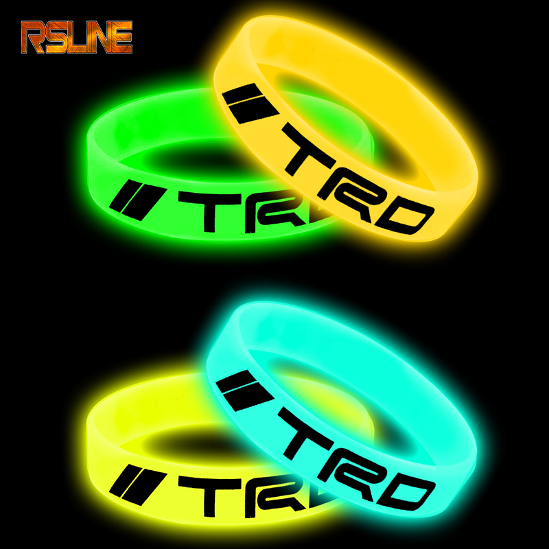 Luminous Car Badge Silicone Holographic Bracelet Sport Wristband For Toyota TRD Corolla Rav4 Avensis T25 Yaris  Car Accessories