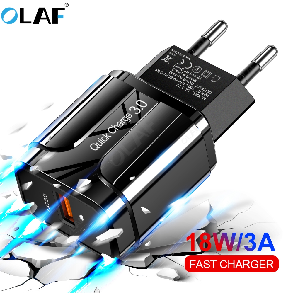 OLAF Quick Charge 3.0 USB Charger QC 3.0 Fast Charging EU US Plug Adapter Wall Mobile Phone Charger For iPhone Samsung Xiaomi(China)