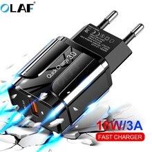 Olaf, carregador usb 3.0 qc 3.0, carregamento rápido, adaptador de parede para celular, para iphone samsung xiaomi