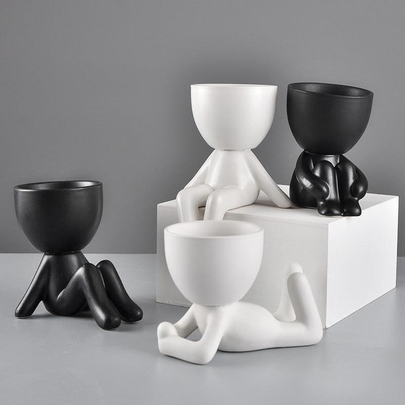 Nordic Creative Ceramic White Cartoon Body Art Flower Pot Decoration Living Room Bedroom Succulent Plant Pot Home Ornaments