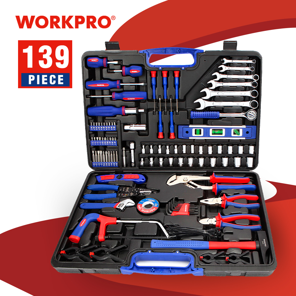 WORKPRO 139PC Home Repair Tool Set Household Tool Kits Screwdriver Set|Hand Tool Sets| |  - title=