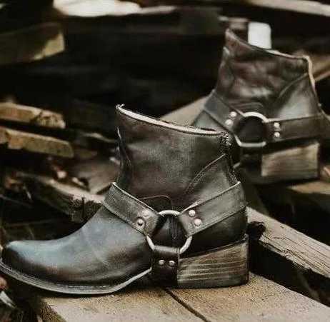 PUIMENTIUA Moda Cowgirl çizmeler kadın ayakkabıları Kış Batı Kovboy yarım çizmeler Sivri Burun Ekleme Payetli PU deri ayakkabı