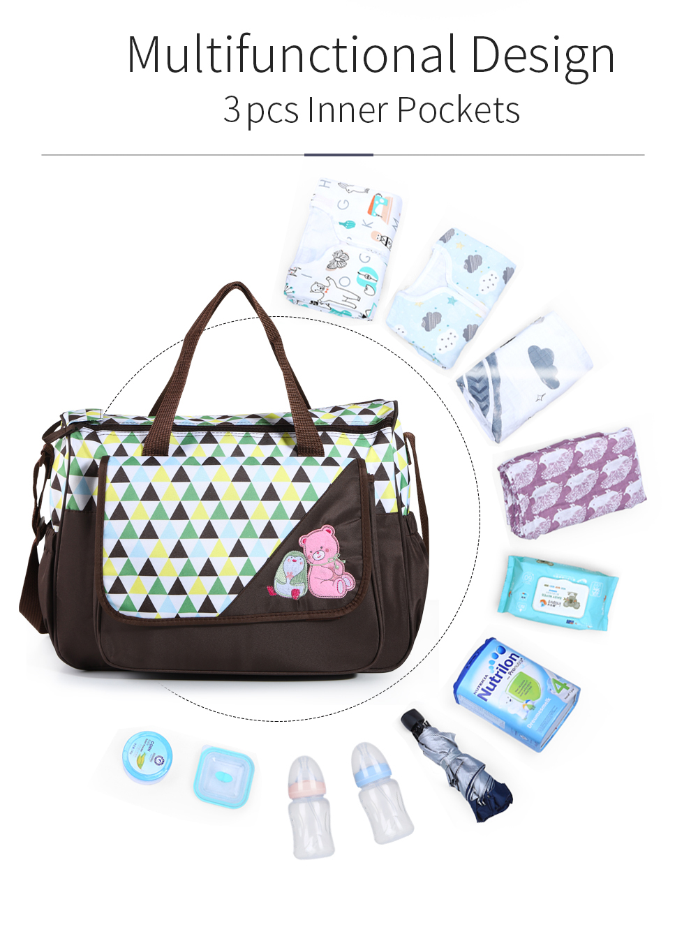 INSULAR Print Large Capacity Tote Diaper Bag Nappy Messenger Tote Maternity Bags for Stroller Baby Mummy bag with Changing Mat | Happy Baby Mama