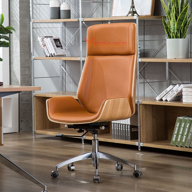 Office Chair Modern Home Chair Computer Special Offer Staff Chair Lift and Swivel Back Anchor Chair Wood Leather Chair