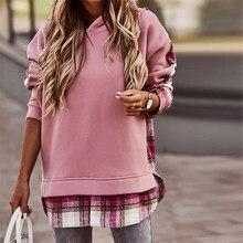 Kadın sonbahar Hoodie kazak kış moda rahat uzun kollu kafes ekleme kazak Tops yuvarlak boyun bayan Streetwear