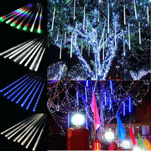 2019 New Year 30cm 50cm Meteor Shower Rain 8 Tubes LED String Lights Waterproof For Outdoor Christmas Decor Tree With Plug Tail(China)