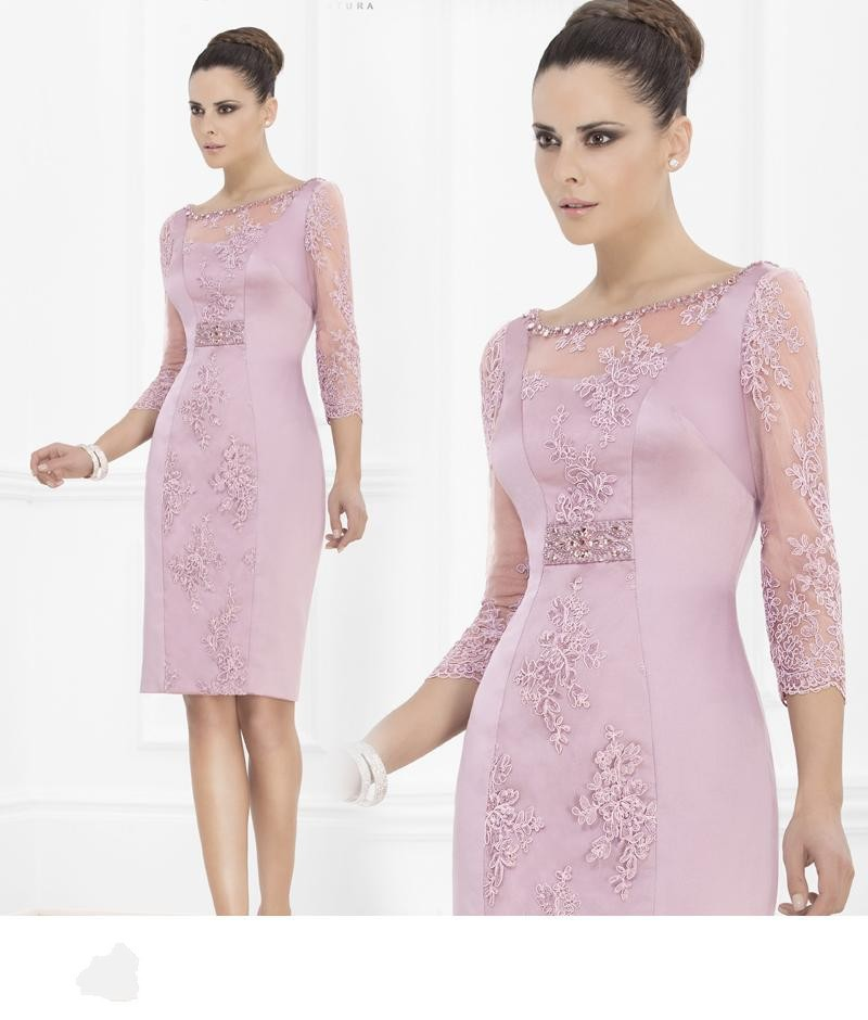 Cheap 2015 Sheath Mother Of Bride Dresses Knee Length Purple With Lace Evening Gowns Sexy Sequins Vestido De Festa ZY3119
