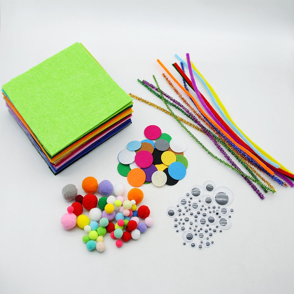 334 Pcs/Set 30*30 CM Felt Plush Stick Pompoms Mix Colors Educational DIY Toys Handmade Art Crafts Creativity Toys Dolls For Kids