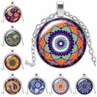 2019 New Sacred Geometry National Wind Kaleidoscope Necklace Jewelry Pendant Crystal Convex Round Glass Necklace Girl Gift