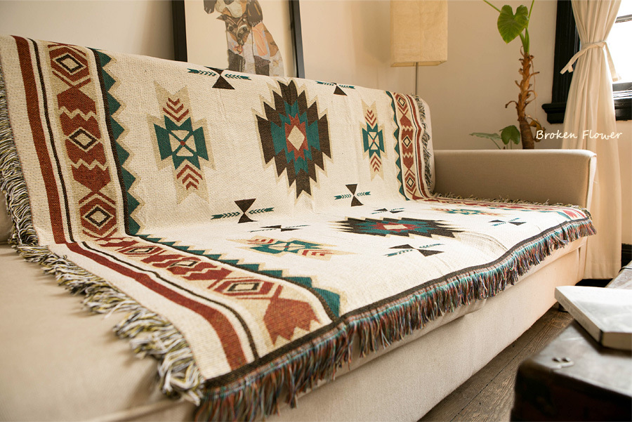 New Bohemian Cotton Linen Blanket National Wind Geometry Sofa Blanket Bed Home Decoration Plaid Hanging Blanket