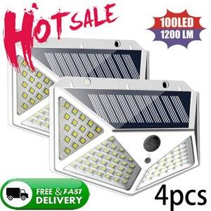 LED Solar Light Outdoor For Garden Decoration 100 LED Solar Lamp Powered Waterproof PIR Motion Sensor Street Light For Christmas