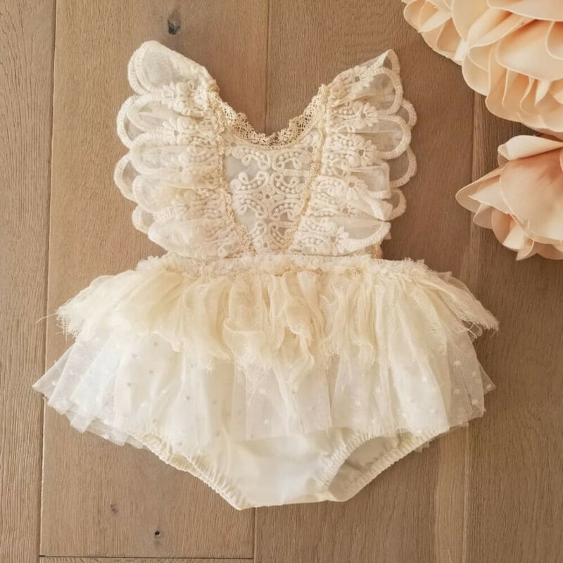 Pudcoco 2020 Newborn Baby Girl Flower Lace Romper Bodysuit Tutu Dress Outfit Clothes 0-24M