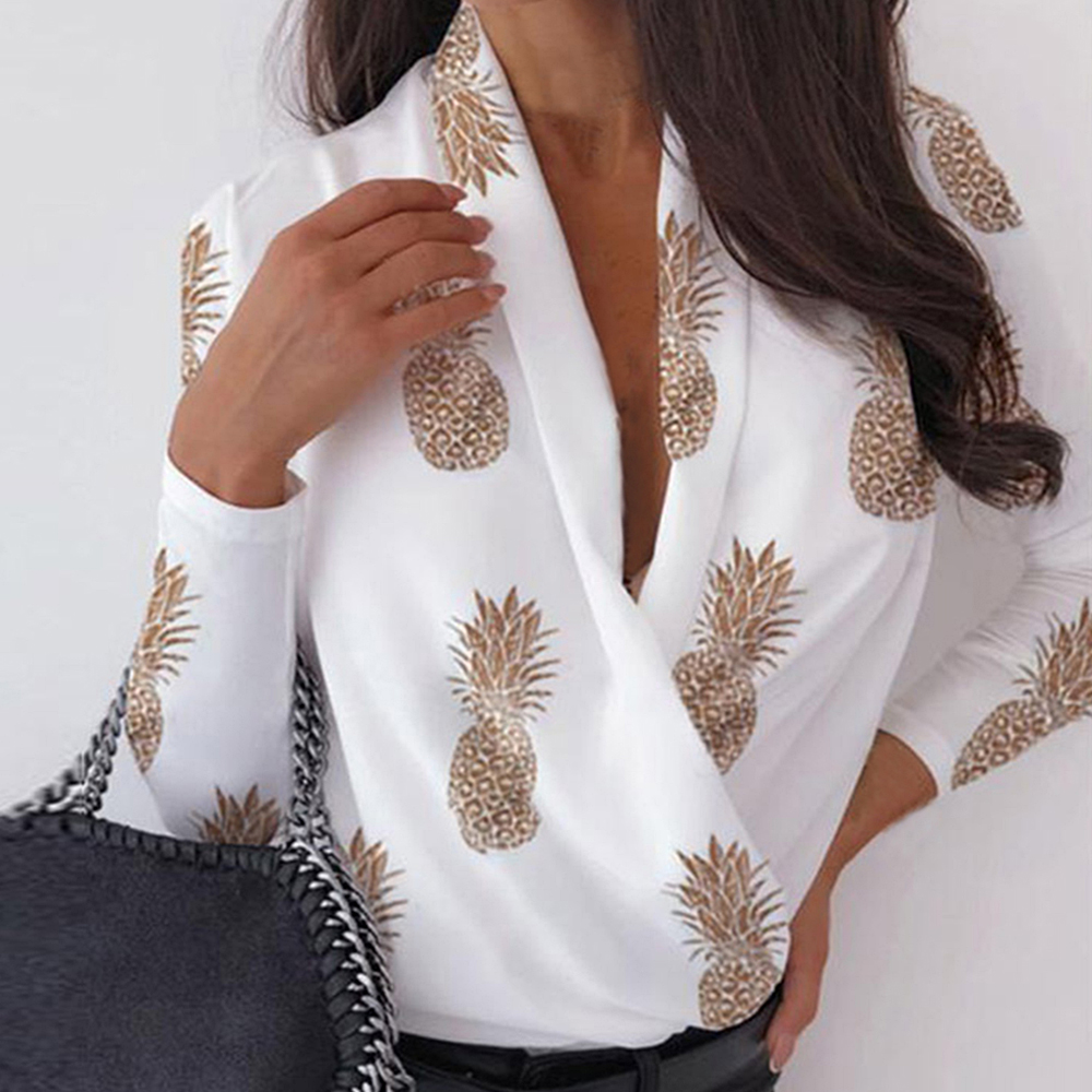 LOOZYKIT Office Lady Sexy Ruched Blouses Shirts Women Spring V neck Long Sleeve Blouses Female Solid Chiffon basic Blusa Tops