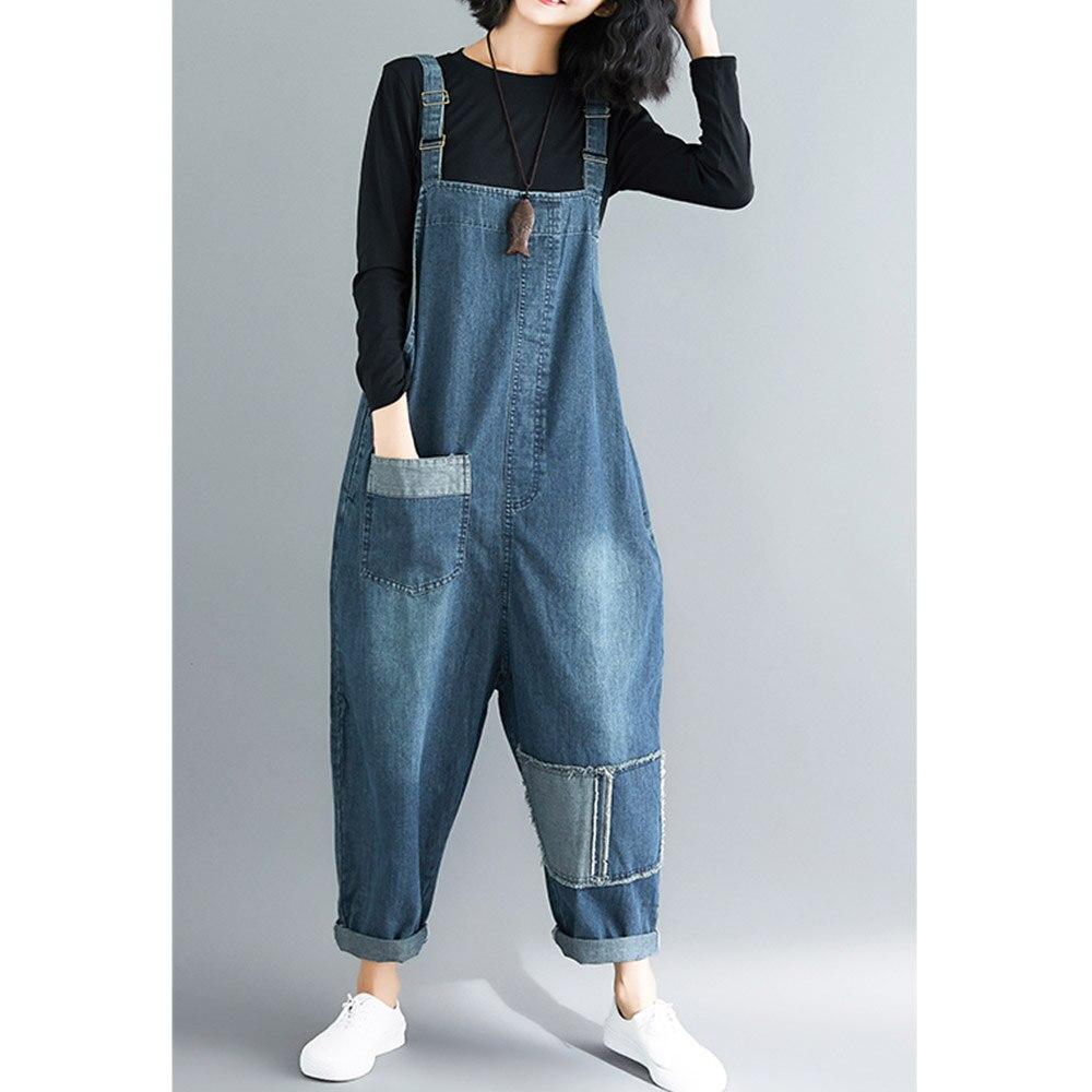 Комбинезон женский джинсовый с карманами, свободного покроя