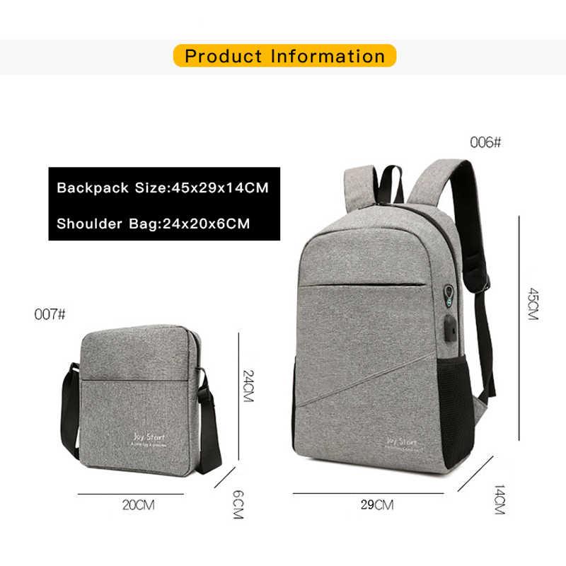 2 Bộ Ba Ba Lô + Túi Đeo Vai Ba Lô Nam 15.6 Inch USB Sạc Ba Lô Laptop Sinh Viên Học Cho Thiếu Niên Với quà Tặng