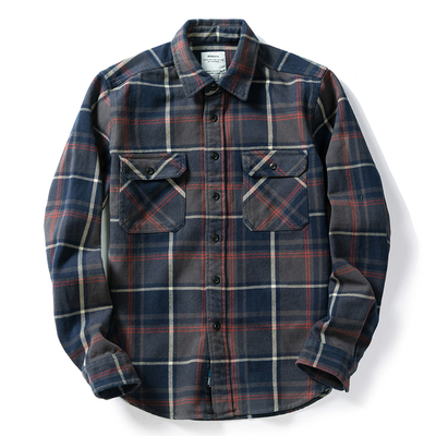 100% cotton heavy weight retro vintage classic red black spring autumn winter long sleeve plaid shirt for men women 11