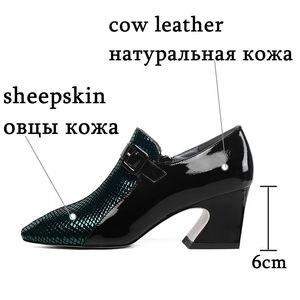 Image 2 - ALLBITEFO Two kinds of genuine leather high heel shoes women heels spring autumn high heels Belt buckle office ladies shoes