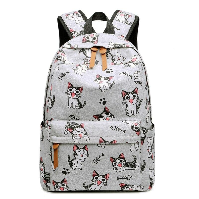 Waterproof Cat Printing Backpack Women School Students Back Pack Laptop  Bookbag