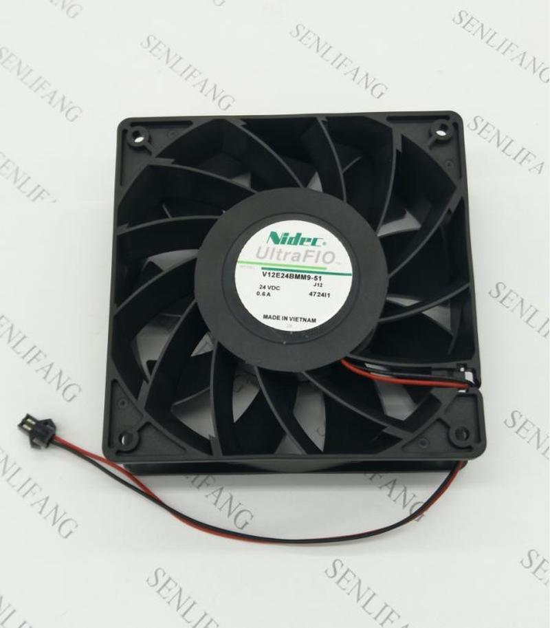 Free Shipping  V12E24BMM9-51 J12 4724I1 DC 24V 0.6A 120x120x38mm 2-Wire Server Cooler Fan