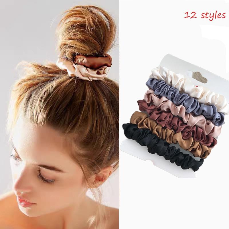 4/6 pièces/ensemble Femme mode chouchous ensembles velours cheveux cravates filles porte-queue de cheval élastique Femme bandeau cheveux accessoires