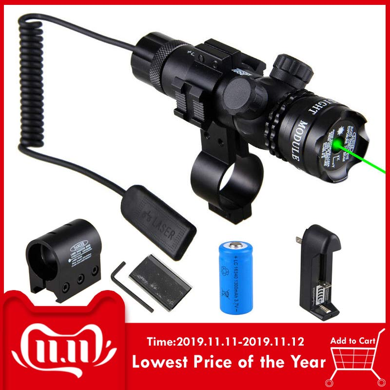 Powerful Tactical Green /Red Dot Laser Sight Rail Barrel Scope Mount Remote Pressure Switch For Picatinny Rifle Hunting