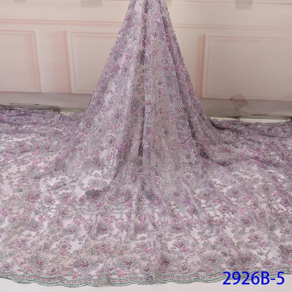 Soirée perlée dentelle tissu Dubai dentelle garniture mariage dentelle broderie coréen dentelle tissu africain QF2926B-5